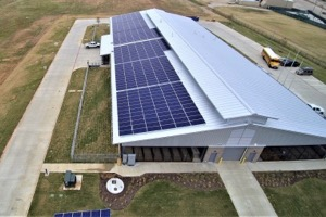 AISD ag center rooftop solar array
