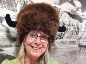 Amy Martin in buffalo hat