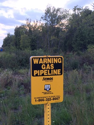 Beck's Creek pipeline sign