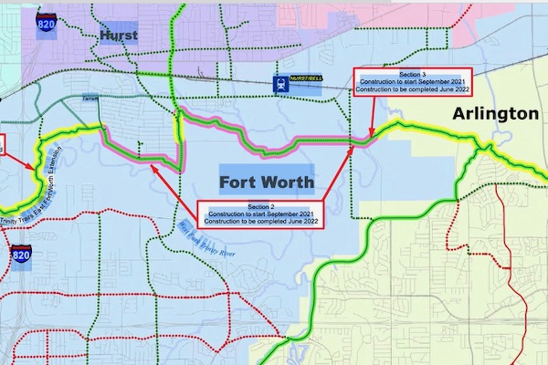 Fort Worth to Dallas Regional Trail Map