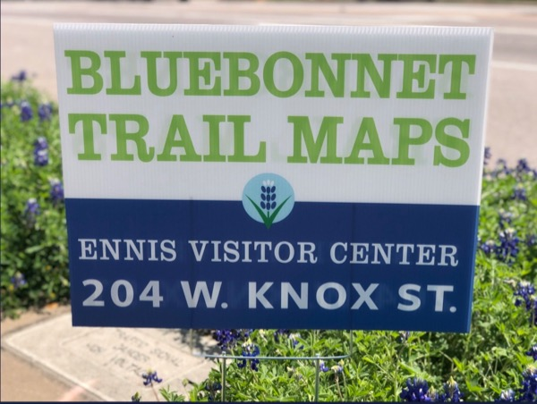 Ennis Bluebonnet Trails Map sign