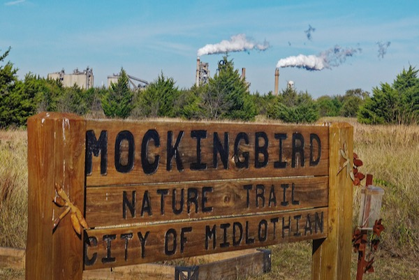 Holcim looms over Mockingbird Nature Trail in Midlothian.