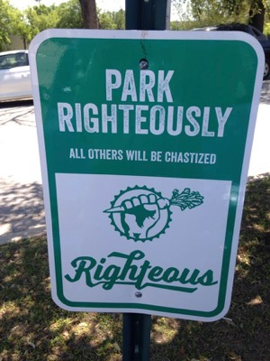 Righteous Foods parking sign