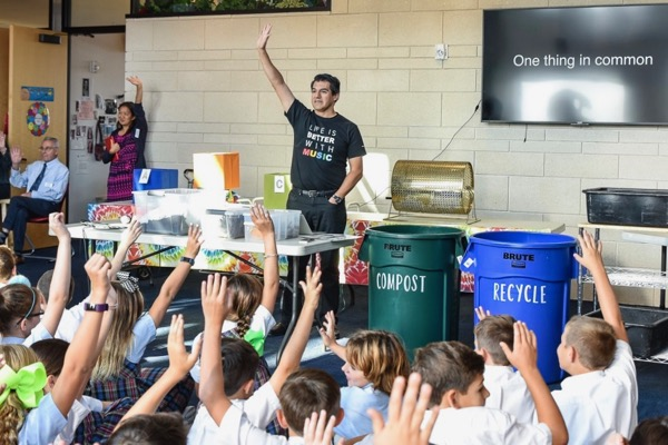 Miguel Harth-Bedoya teaches kids about compost.