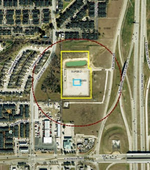 Site of proposed gas wells at 2000 S. Watson in Arlington