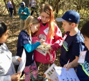 Kids examine skull at Junior master naturalist training