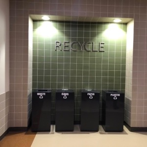 Recycle bins at Lady Bird Johnson Middle School