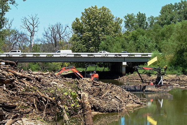 Log jam on Elm Fork near U.S. 380