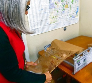 Debbie Cooley with green shipping material