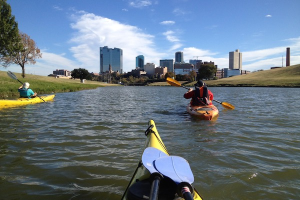 Kayakers on the West Fork near downtown Fort Worth