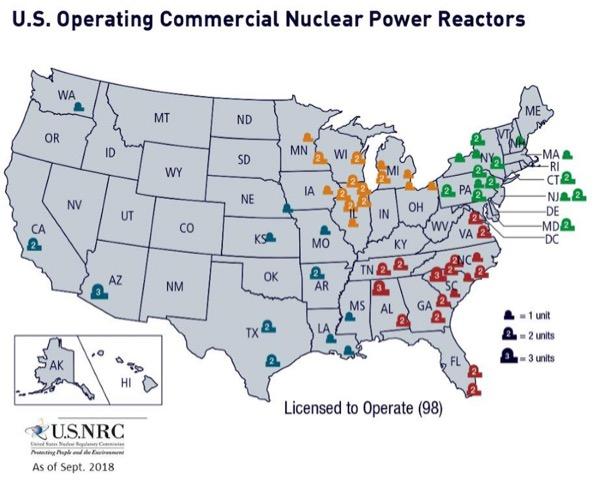 U.S. Nuclear Reactors Map