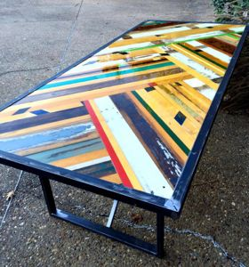 Reclaimed wood table by Sarah Reiss