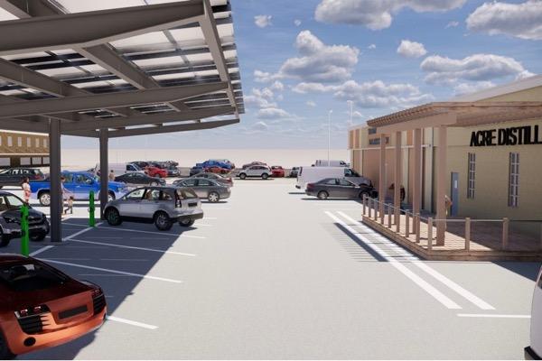 Acre Distilling's solar panels in parking lot