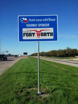 Sponsor a highway Toyota sign