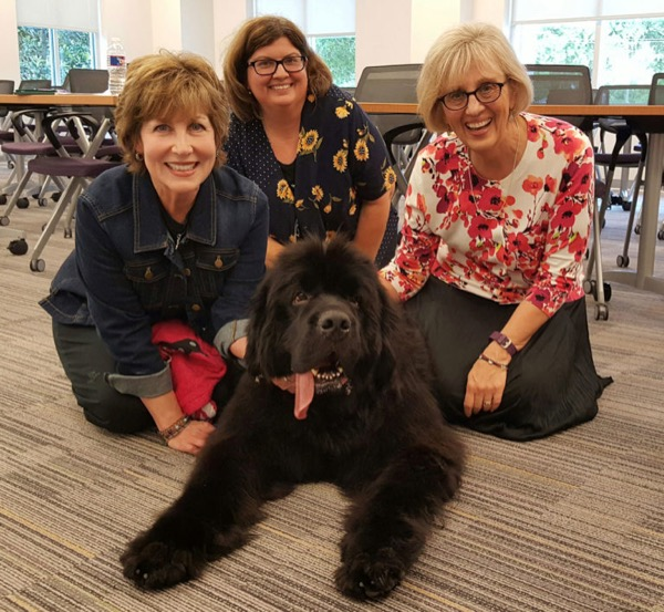 TCU faculty with therapy dog