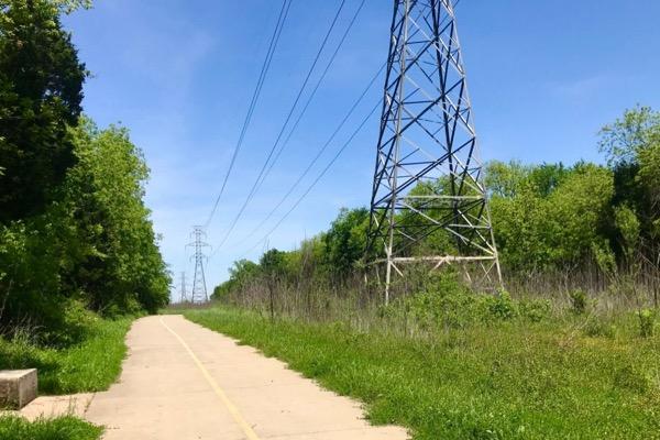 Trinity Forest Trail power line corridor