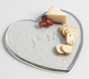 Pottery Barn glass heart cheese board