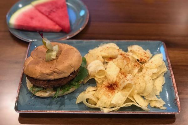 Viridescent Kitchen vegan burger
